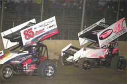 Tommy Bryant and Jason Johnson battle it out at Lake Ozark Speedway in Eldon, Missouri
