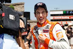 Joey Logano celebrates his victory in the NASCAR K&N Pro Series West at Infineon Raceway