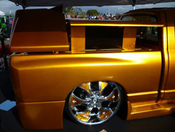 Jonathan Vargas' golden ram was without a doubt the wildest Dodge truck at the 2010 SEMA show.