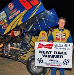 Heat race winner Jason Goldesberry at Spoon River Speedway in Canton, Illinois