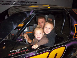 Lucas with his two biggest fans, four-year-old son Landen, and two-year-old daughter Laken.