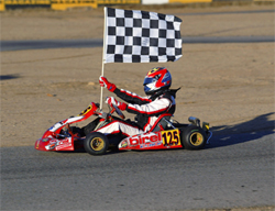 California State Karting Championship victory lap for teen racer Jacob Pearlman, photo by Sean Buur of go racing magazine