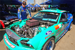 Top drifter Vaughn Gittin Jr. and his Falken Ford Mustang 650 hp muscle car
