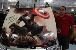Julio Torres reversed the hood of his modified Pontiac GTO so he could properly display his Mural of Captain America.