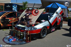 Julio Torres has received numorous trophies for his modified Captain America Pontiac GTO.