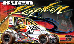 K&N sponsored racer Ryan Kaplan's hero card with his K&N Filters midget in time for the Chili Bowl Nationals