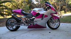 One of Karme Cannon's customized bikes
