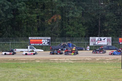 Fans stood atop pickup trucks and RVs to see the exciting karting action.