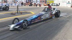 K&N's Kathy Fisher gets ready to light 'em up during qualifying at the IHRA Nitro Jam in Ontario Canada.