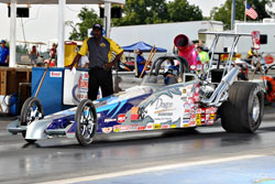 Kathy Fisher's Dragon Racing Fuels/K&N/Amalie Oil/Ohio Crankshaft Quick Rod dragster