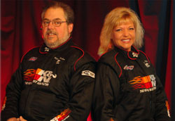 "K&N's Husband and Wife Drag Racing Duo, Kevin and Kathy Fisher who can be seen on their own online reality series, ""Married With Dragsters"""