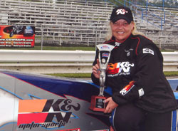 K&N's Kathy Fisher, shown here with one of her numerous 8.90 class victories over the years.