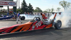 Looking good and running good, Kathy Fisher's New K&N 8.90 dragster readies for its maiden voyage into its first round of competition.