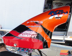 Kathy's dragster utilizes K&N's new 2nd Generation Composite Hood Scoop.