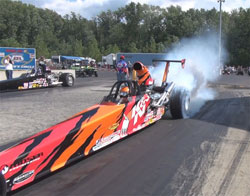 K&N's Fisher takes her very first round win in brand new American dragster and turns it into its first final.