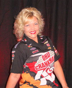 K&N's Kathy Fisher, who when not behind the wheel of her dragster, can be found in front of the TV camera on various automotive series on Fox Sports Net national.