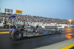Top Dragster driver Kevin Fisher grabs victory in his first final racing sportsman class at Grand Bend Motorplex.