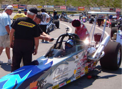 The car ran a little better than was planned for, and Fisher took a little too much stripe, running an 8.88 on the 8.90 index.