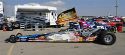 Fisher's K&N clad 1998 Boulton Dragster waits it's turn for winner's circle pictures after the Quick Rod Final.