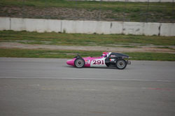 Streaking to victory at the Route 66 Classic in her hot pink number 291 K&N Formula Vee