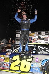 Greg Pursley celebrates his victory in Vegas.
