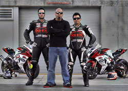 Crew chief Michael Godin flanked by Dwyer and Zendejas (left to right).