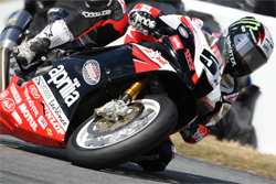 Aprilia RSV100R in the sprint to the finish at the Daytona 200