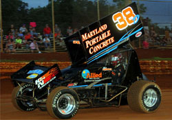 #38 Winged Sprint Car driven by Kyle Denmyer sports Jim Bowen 358 engine.