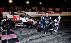 Kyle Larson sharpened his skills with a USAC pavement midgets win at New Smyrna Beach, driving for RW Motorsports.