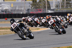 XR1200 Racer Kyle Wyman took the lead out of turn 4, but Tyler O'Hara used a slingshot pass in the tri-oval to take the win.