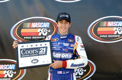 Chase Elliott won the pole and broke the record of 16.439 seconds set by Coleman Pressley last year at Langley