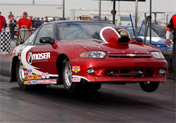 Family Patriarch Larry Cummings earned his first national event title in Super Stock in his Cavalier at IHRA Northern Nationals in Martin, Michigan