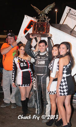 The 2013 Rookie of the Year in the Nationwide Series, Kyle Larson, teamed up with Paul Silva to win Thunderbowl Raceway's 20th Trophy Cup