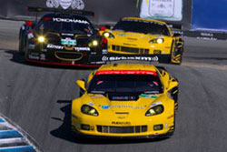 Four-time 24 hours of Le Mans winner Jan Magnussen and teammate Antonio Garcia on the Laguna corkscrew.