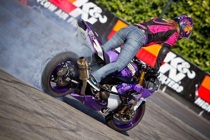 K N Signs World Renowned Motorcycle Stunt Riding Artist Leah Petersen