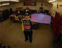 Kyle LeDuc holds K&N air filter E-3760 at Team LeDuc's Cherry Valley, California shop
