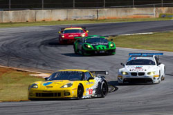The winning number 4 Corvette driven by Oliver Gavin, Jan Magnussen, and Emmanuel Collard completed 355 laps, 902 miles, in the season finale of the 2010 American Le Mans Series (Richard Prince/GM Racing Photo).