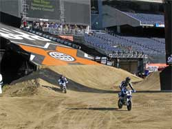 Johnny Lews gets a test run of supermoto track at Moto-X World Championships