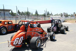 Michael Lewis in his No. 60 Western Speed Ford Focus Midget during qualifying at Madera Speedway in California.