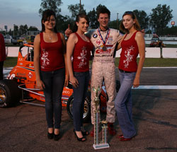 Western Speed Racer Michael Lewis with the Trophy Girls celebrating his first USAC win at Madera Speedway