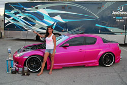 "This custom Mazda RX-8, owned by Lina Rodriguez, has won several ""Best Paint"" Awards."
