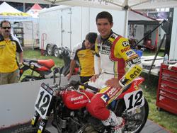 Lloyd Brothers Motorsports' flat-track motorcycle racer Brad Baker