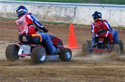 Lawn Mower racers take to the tracks in the Vaters' Motorsports Thrill Show in Hagerstown, Maryland