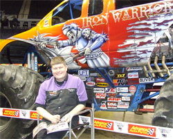 Trey Myers drove Ford Powered K&N Iron Warrior during Monster Truck action at Allegany County Fair in Cumberland, Maryland