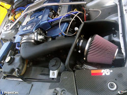 Installed. K&N Air Intake 63-2565 delivers an estimated 15+ horsepower to 2007, 2008 and 2009 Ford Mustang GT models with the 4.6L engines.