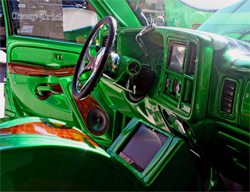 Colorado Custom Steering Wheel and Rosen Universal Navigation System are part of Luciano Customs 2005 GMC Sierra Crew Cab