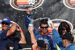 Luis Martinez Jr. wins the NASCAR K&N Pro Series West race at Portland International Raceway in Oregon