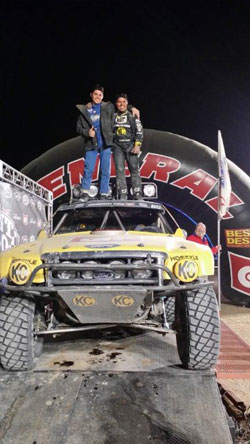 Dr. Glass and his son Walker were on top of the world after winning their class in the 2014 Mint 400.