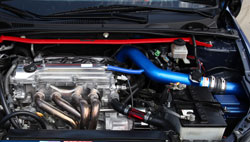 Jeff Maldonado's 2006 Scion tC with the 2.4 liter enigne is equipped with a K&N high-flow air intake system and K&N Wrench-Off Oil Filter