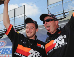 Proud father and son at Toyo Tires NHRA Nationals at Maple Grove Raceway in Pennsylvania
